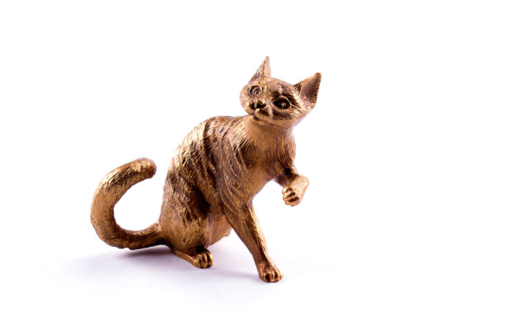 Bronze statuette  cat Devon Rex