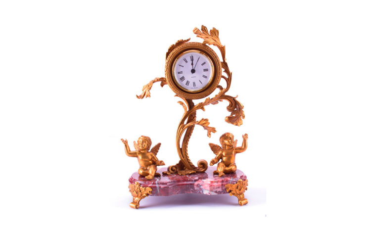 Bronze clock Birds of Paradise