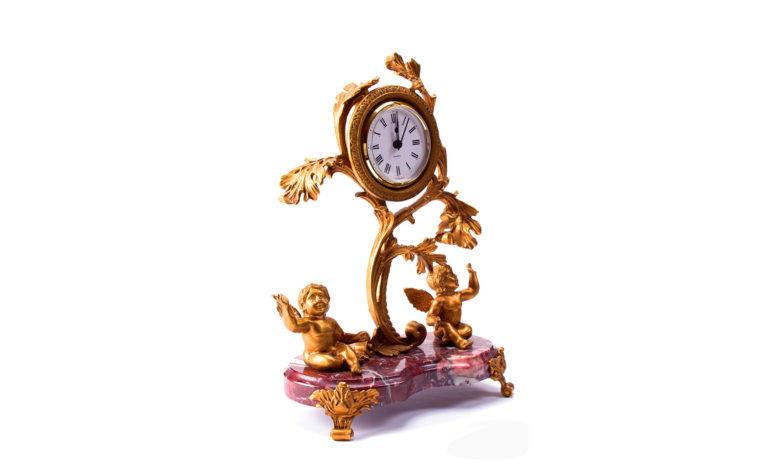 Bronze clock Birds of Paradise