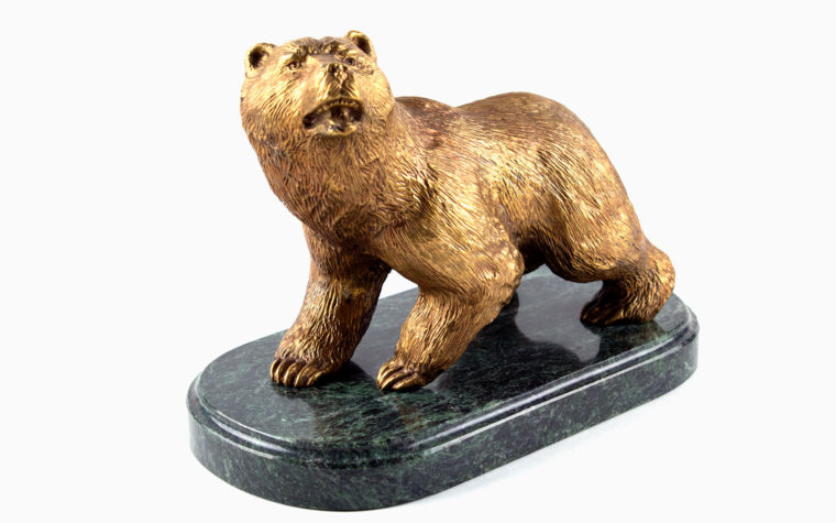 Bronze statuette Brown Bear on Stone