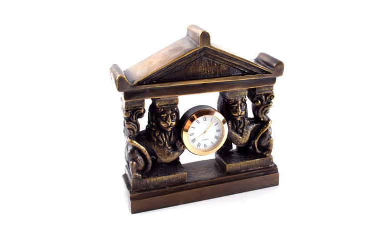 Bronze clock Lions
