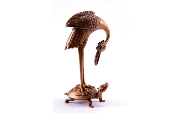 Crane on a Tortoise sculpture