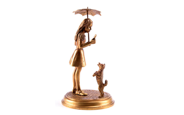"Bronze sculpture ""Girl with a dog"""