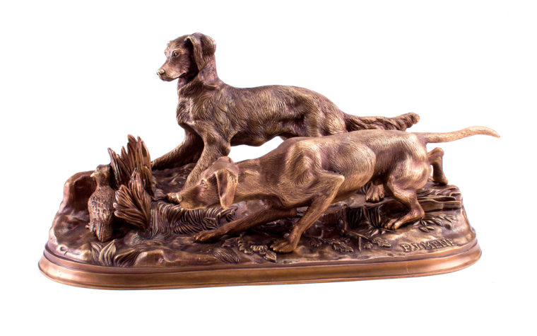 Bronze Sculpture of Dogs Hunting by Pierre-Jules Mene (copy)