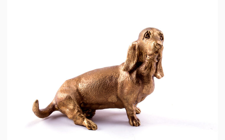 Bronze sculpture Basset hound