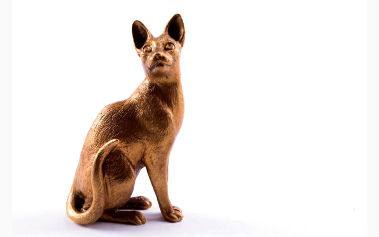 Bronze figurine Cornish Rex cat