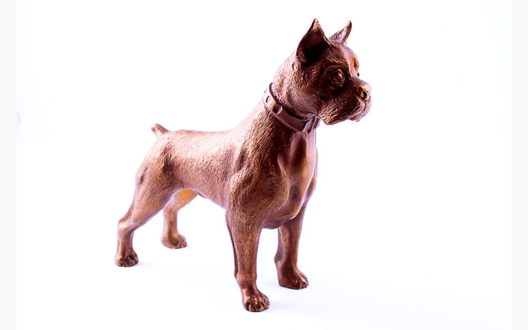 Bronze Animalistic Dog Sculpture - German boxer
