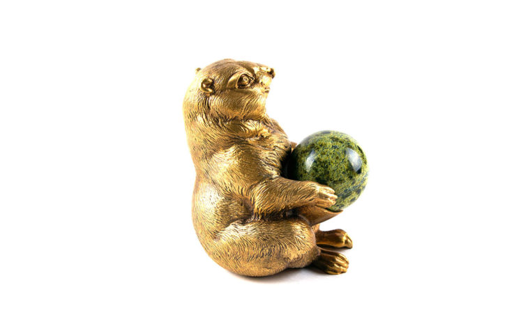 Bronze sculpture Groundhog with the ball