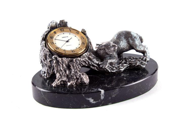 Bronze clock Lynx