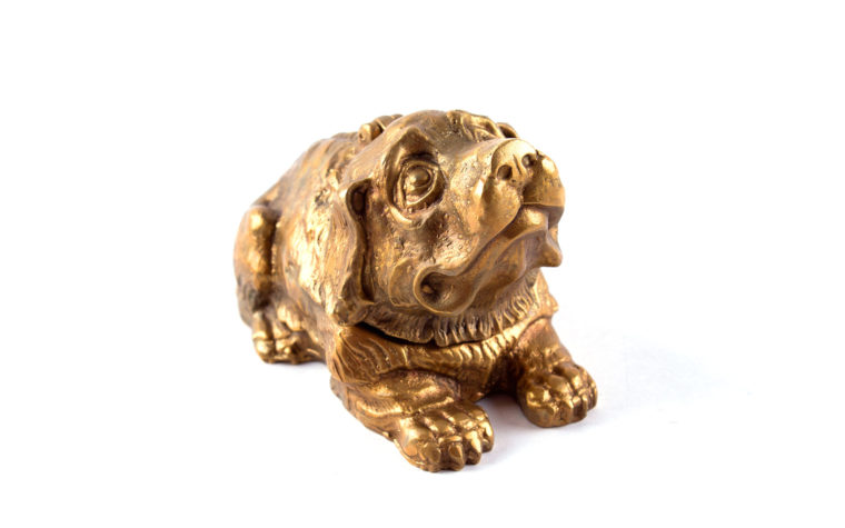 Bronze casket Dog