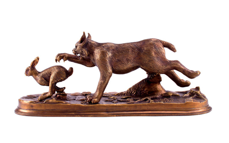 Bronze sculpture Lynx on the hunt