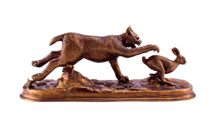 Bronze sculpture Lynx on the hunt